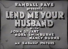 Lend Me Your Husband 1935 DVD - John Stuart / Nora Swinburne